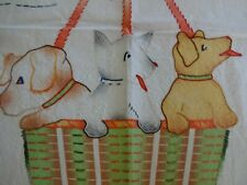 Darling Vintage Embroidered Baby Quilt / Coverlet Puppies in a Basket Scottie?