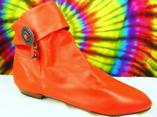 sz 7 M vintage 80s red leather cuffed flat ankle boots NOS