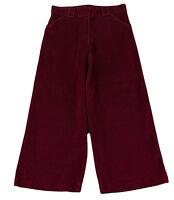 JACADI Girl's Reverence Plum Corduroy Flared Pant w/ Detail SZ 12 Years NWT $62