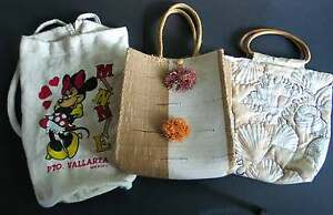 3 Pc Woven Jute Lined Tote Wooden Handles Cloth Bag Souvenir Back Pack FREE SH