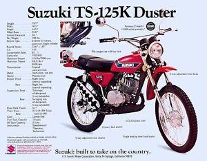 1973 SUZUKI TS-125K DUSTER SALES SPECS AD VINTAGE