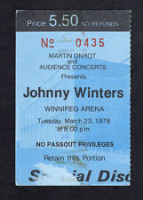 1976 Johnny Winter Concert Ticket Stub Winnipeg Canada Mean Town Blues