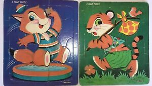 1957 Two SAALFIELD Tray Puzzles   Fuzzy Kitty and Tiger #7040 Dated & Complete