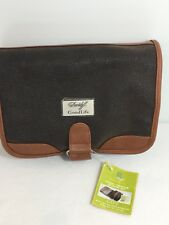 Davidoff Good Life Travel Toiletry Kit Brown Faux Leather with Buckle Snap Close