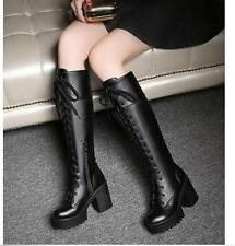 New Women Block Heel Motor Knee High Boot Goth Lace Up Military Roma Riding Shoe