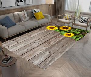 Brown Wood Board Sunflowers Area Rugs Bedroom Carpet Living Room Floor Yoga Mat