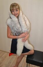Cape fur polar fox blue scarf or collar or boa long beautiful 180 cm 70 in