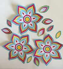 Blue Flowers with Pink, Yellow and White - Iron On Fabric Appliques