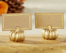 Personalized 6 Gold Pumpkin Place Card Holder Wedding Fall Autumn Thanksgiving