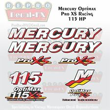 Mercury Marine Racing Optimax Pro XS 115HP Outboard Reproduction Decals 9 Pc