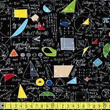 Timeless Treasures Fabric School Maths & Geometry Black PER METRE Math Science T