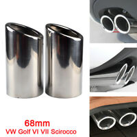2× Silver Stainless Steel Exhaust Tail pipe Trim Tip for VW Scirocco Golf VI VII