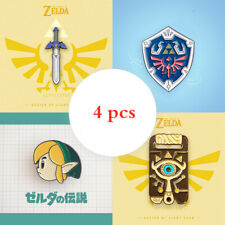 4 pcs The Legend of Zelda Hylian Shield Metal Badge Master Sword Brooch Pin Gift