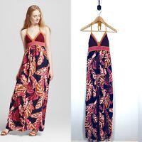Womens Mossimo Large Crochet Halter Printed Maxi Dress