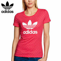 Adidas Originals Womens Trefoil Pink Kiss T-Shirt Tee Top Free Tracked Delivery
