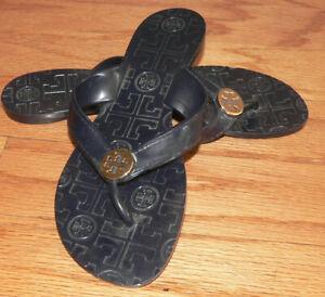 Women's Tory Burch Thora Navy Blue Jelly Thong Flip flops Size 6/6.5