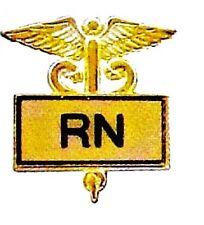 RN Registered Nurse Pin Emblem Insignia Gold Inlaid Caduceus Graduation 3501G