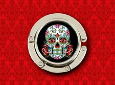 SUGAR SKULL DAY OF THE DEAD BLACK MEXICAN HANDBAG POCKETBOOK HANGER PURSE HOOK