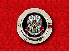 SUGAR SKULL DAY OF THE DEAD BLACK MEXICAN HANDBAG POCKETBOOK HANGER PURSE HOOK