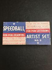 Vintage Speedball No. 5 Artist Set Lettering Drawing Ink Pens & Inserts Rare