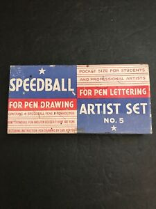 Vintage Speedball No. 5 Artist Set Lettering Drawing Ink Pens & Inserts Rare