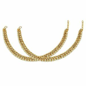 Indian Gold Tone Anklet Payal Fashion CZ Stone Bollywood Party Women Jewelry