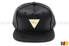 Hater Snapback Black Full Grain Leather Intrecciato Brim Weave Fashion Hat Cap