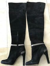 Fendi Black Suede Over The Knee Boots Size 38