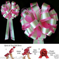 "PINK GREEN WEDDING 8"" PULL PEW BOW BRIDAL DECORATION"
