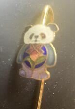 Gold Tone Multi Colored Enamel Panda Bear Bookmark