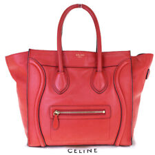Authentic CELINE PARIS Logo Luggage Tote Hand Bag Leather Red Italy 82EW584