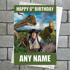 Andy's Dinosaur Adventures personalised birthday card. 5x7 inches. Prehistoric.