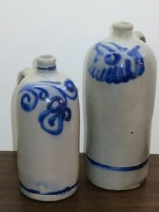 Two very beautiful antique stoneware jugs from around 1900 / Germany Westerwald