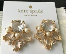 Kate Spade Gold Chantilly Gems Clear Crystal Faux Pearl Stud Earrings O0ru1980