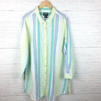 Jones & Co. Women's Yellow Blue Stripe Linen Shirt Button Front Tunic Top 1X