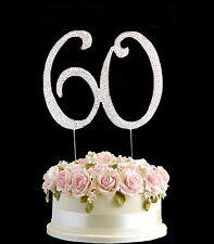 Diamante Rhinestone Gem Cake Pick Topper Birthdays Anniversary Silver Numbers-60