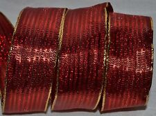 Wired Ribbon~Christmas Metallic Woven Red Stripe~Gold~Holiday~Wreath~Bow
