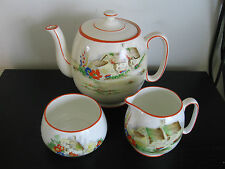 Royal Winton Hand Painted Countess Cottage Teapot Cream Sugar Birks