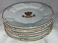 "Set of 8 Trenton NJ GOA France Gold Trim Plates Hand Painted Latin 6"""
