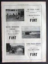 1923 Pubblicità FIAT Targa Florio De Seta Parma Poggio Berceto Brilli-Peri