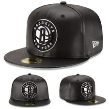 New Era NBA Brooklyn Nets 5950 Fitted Hat Black Team Faux Leather NBA Game Cap