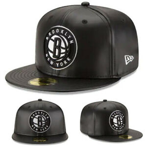 New Era NBA Brooklyn Nets 5950 Fitted Hat Black Team Faux Leather NBA Game Cap