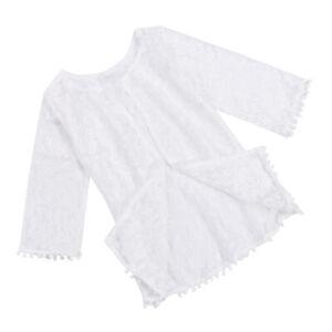White Infant Baby Girl Kids Lace Long Sleeve Romper Top Blouse Bodysuit Jumpsuit