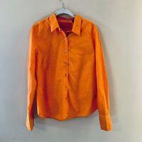 ROBERT GRAHAM Orange Paisley Shirt Button Front Women's Size 12 Flip Cuff