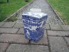 Art Deco Willow Pattern Tea Caddy Canister by Thomas & Evans Tevna Tea 1930s