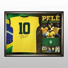 PELE HAND SIGNED FRAMED LIMITED BRAZIL SOCCER JERSEY RONALDO MESSI WORLD CUP
