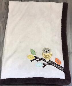 Rare Kidsline Appliqued Owl on Branch Plush Lovey Security Blanket Brown Trim