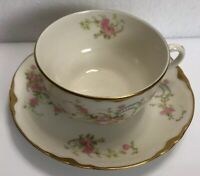 Vintage Old Abbey Cup And Saucer Pink Floral Warwick Pink Roses Set Gold Rim