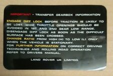 GENUINE LAND ROVER RANGE ROVER CLASSIC TRANSFER BOX INFORMATION DECAL