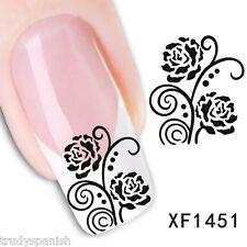 NAIL ART ACQUA trasferimento Decalcomanie Nero Fiori di Rosa UV Tips decorazione (1451)